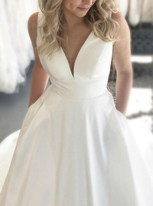 White Satin Deep V-neck Backless Wedding Dress With Pocket