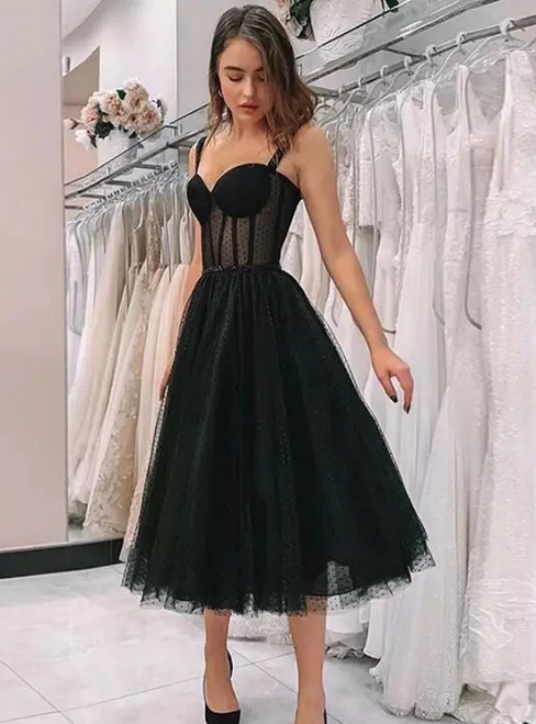 A-Line Black Tulle Straps Sweetheart Tea Length Prom Dress