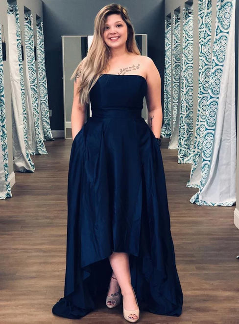 Simple Black Hi Lo Navy Blue Satin Strapless Prom Dress With Pocket