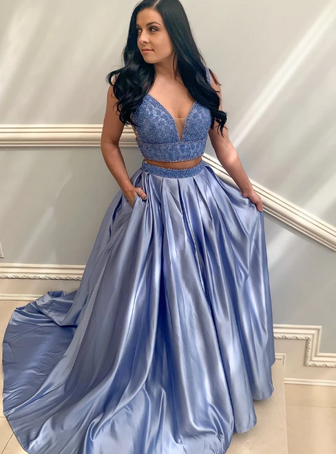 A-Line Two Piece Satin V-neck Lavender Beading Prom Dress With Beading