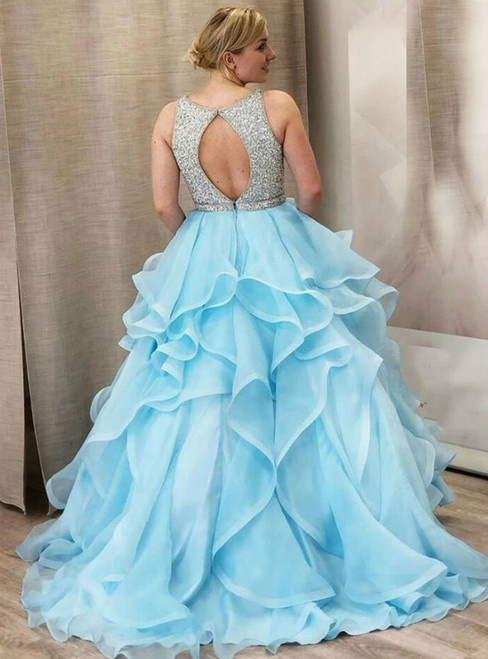 Blue Ball Gown Organza Ruffles Backless Prom Dress With Beading
