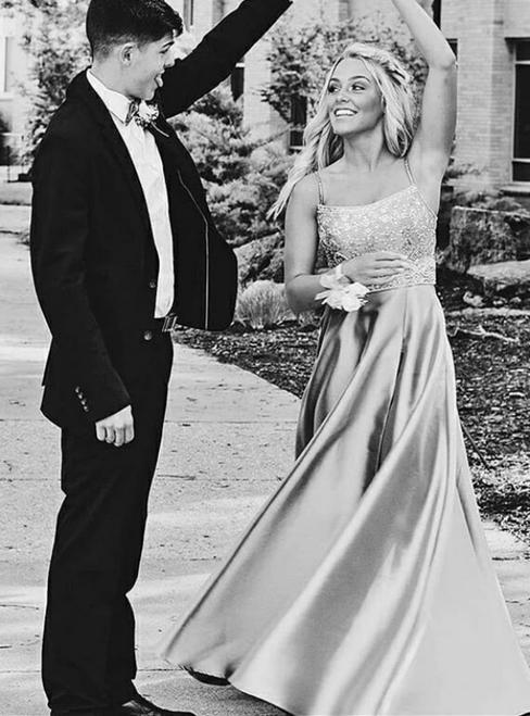Silver Gray Satin Spaghetti Straps Beading Prom Dress With Pocket
