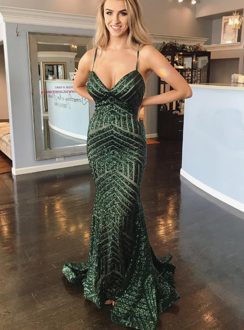 Green Mermaid Sequins Spaghetti Straps Backless Prom Dress