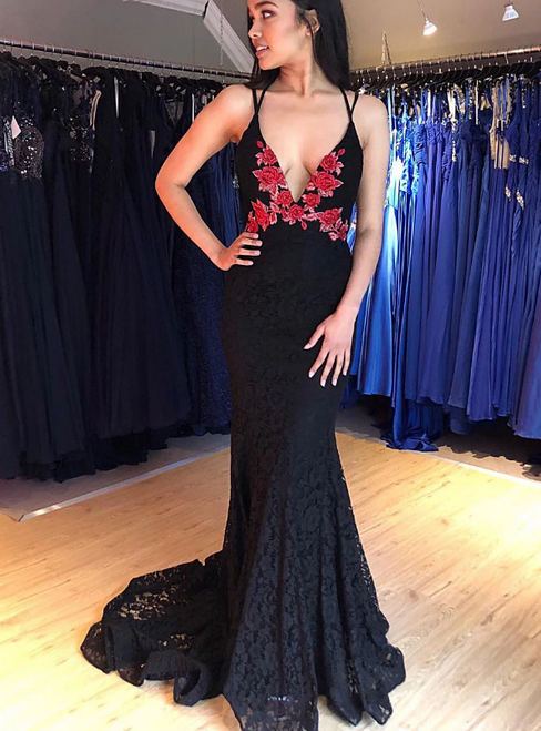 Black Mermaid Lace Deep V-neck Backless Embrodiery Flower Prom Dress