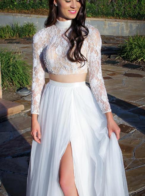 White Two Piece Chiffon Lace High Neck Long Sleeve Prom Dress