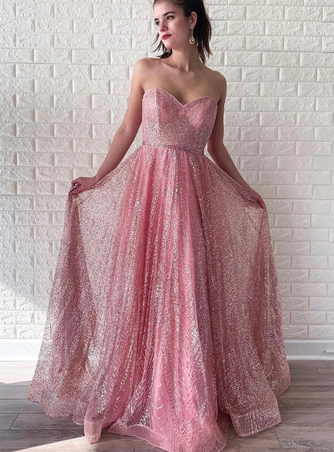 A-Line Pink Tulle Sequins Sweetheart Long Prom Dress
