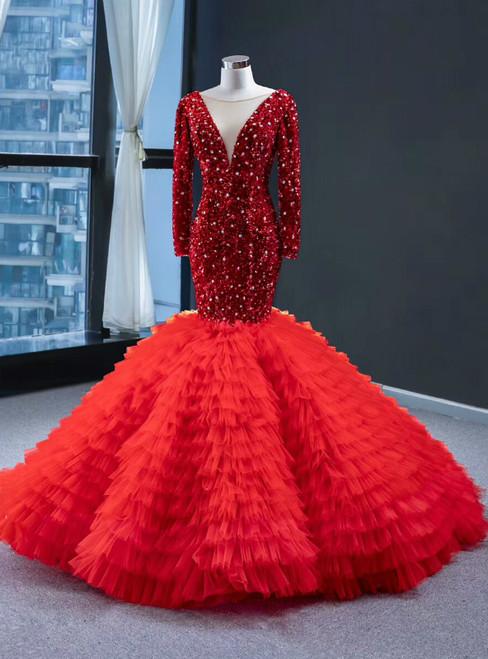 Red Mermaid Sequins Tulle Long Sleeve V-neck Prom Dress