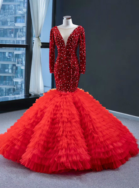 Red Mermaid Sequins Tulle Long Sleeve V-neck Prom Dress