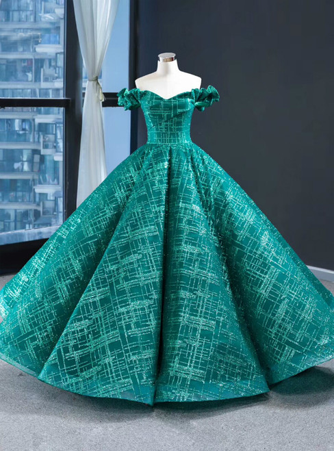 Green Ball Gown Sequins Off the Shoulder Floor Length Prom Dress