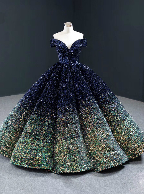 Blue And Green Sequins Off the Shoulder Prom Dress