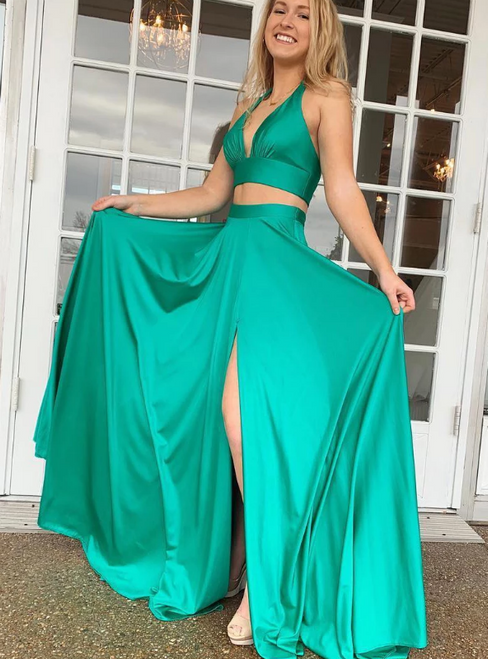 Turquoise Two Piece Satin Deep V-neck Long Prom Dress