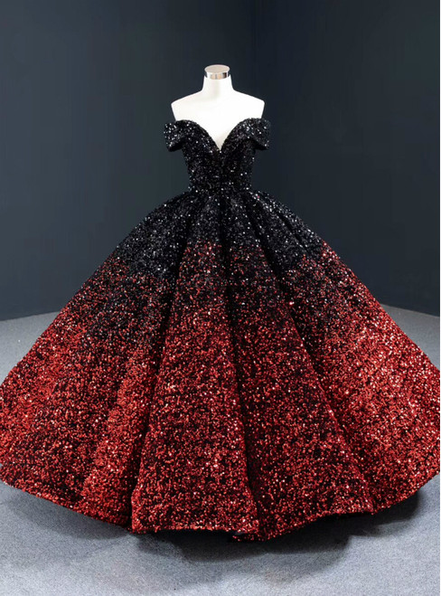 Red And Black Sequisn Off the Shoulder Prom Dress
