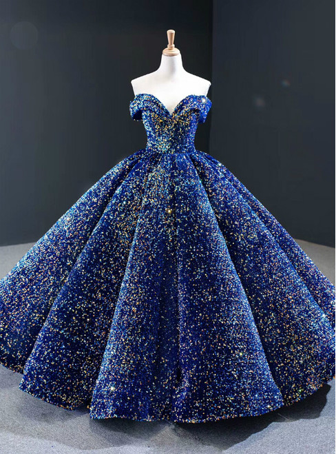 Luxury Blue Sequisn Off the Shoulder Sleeveless Long Prom Dress