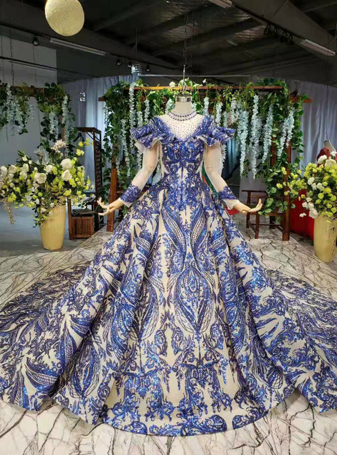 Blue Ball Gown Sequins High Neck Long Sleeve Beading Wedding Dress