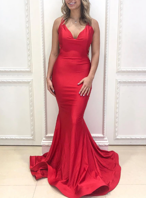 Red mermaid Satin V-neck Backless Pleats Prom Dress