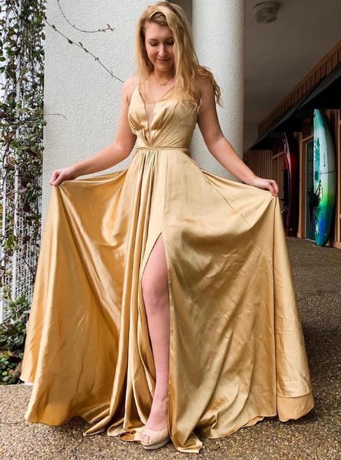Gold Satin Halter Pleats Lace Up Back Prom Dress With Side Split