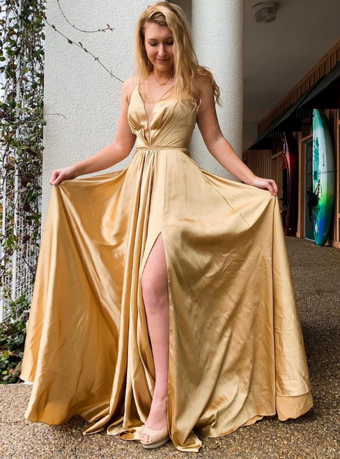 Gold Satin Halter Pleats Lace Up Back Prom Dress With Side Split