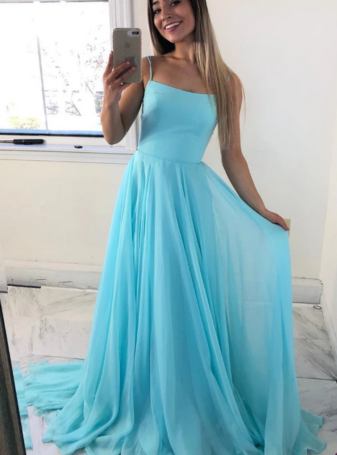 A-Line Blue Chiffon Double Spaghetti Straps Lace Up Back Prom Dress