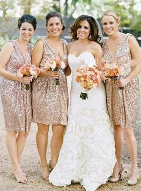 Gold Sequin Bridesmaid Dress  Short Bridesmaid Dress Sequin Bridesmaid Dress