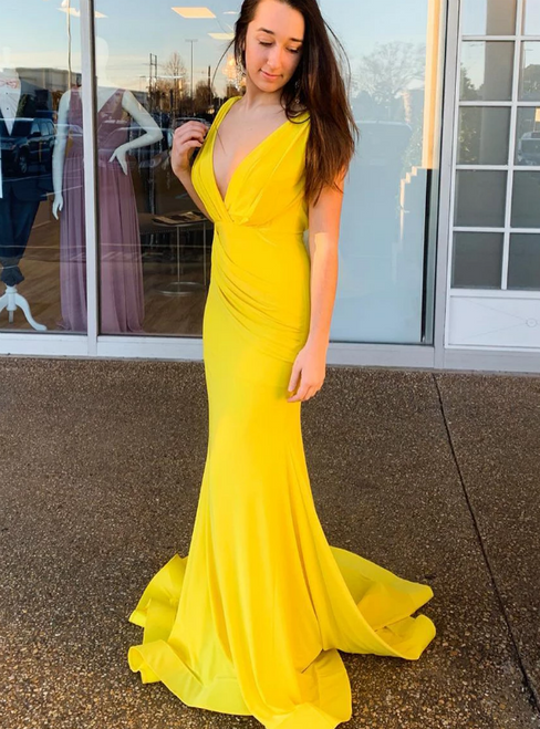 Yellow Mermaid Satin Deep V-neck Backless Prom Dress