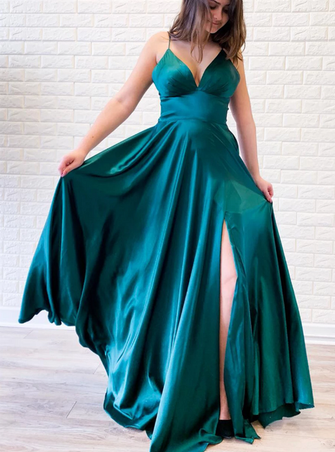 A-Line Blue Satin Empire Spaghetti Straps Backless Prom Dress