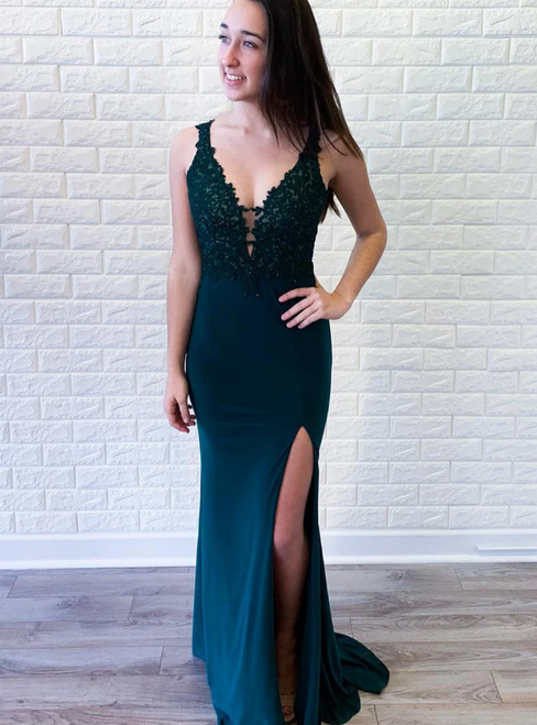 Green Satin Mermaid Deep V-neck Appliques Prom Dress