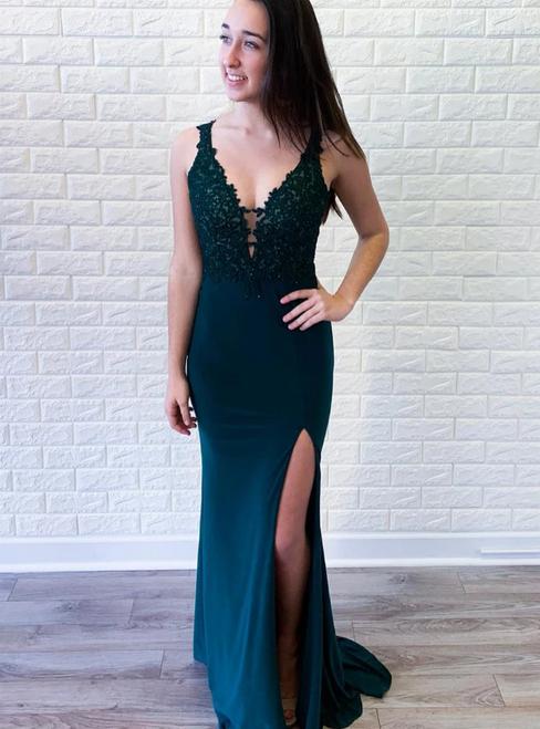 Green Satin Mermaid Deep V-neck Appliques Prom Dress