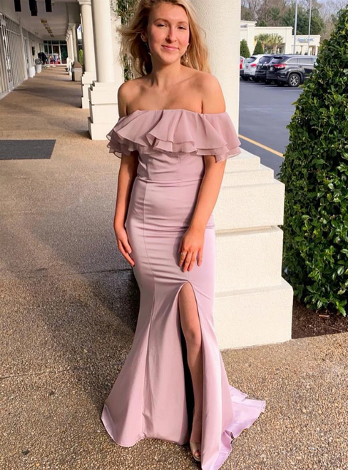Pink Mermaid Satin Off the Shoulder Backless Ruffles Prom Dress