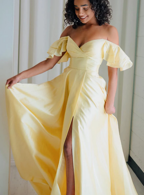 A-Line Yellow Satin Off the Shoulder Ruffles Prom Dress With Pocket