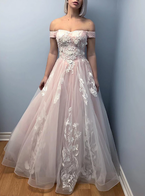 A-Line Pink Tulle Off the Shoulder Appliques Prom Dress