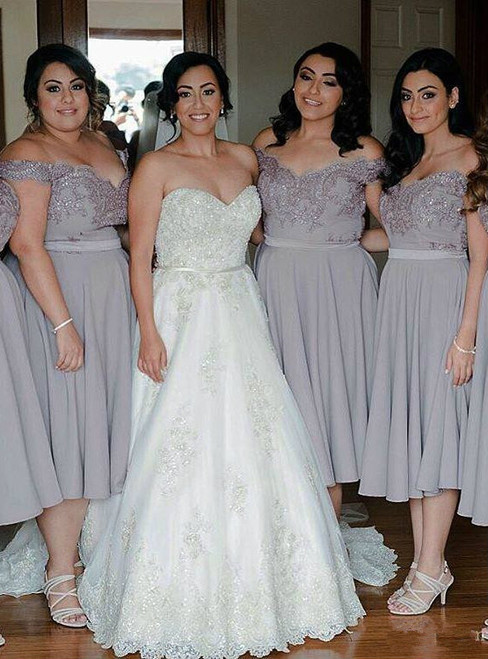 Short Bridesmaid Dress Grey Lace Chiffon Bridesmaid Dresses Tea Length