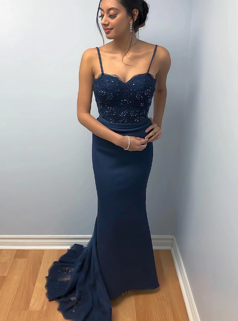Navy Blue Mermaid Satin Spaghetti Straps Lace Prom Dress