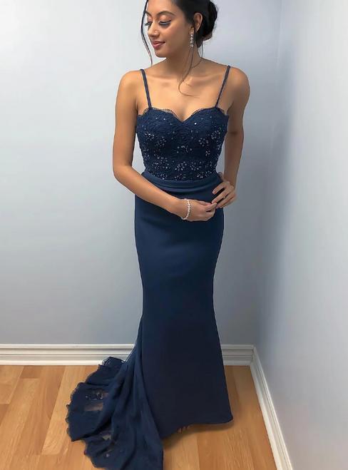Navy Blue Mermaid Satin Spaghetti Straps Lace Prom Dress