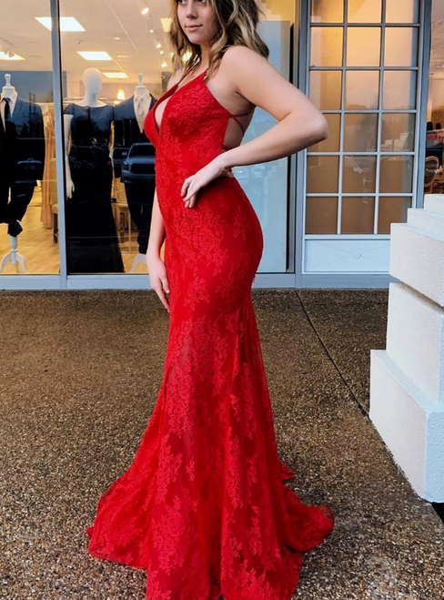 Red Mermaid Lace Deep V-neck Lace Up Back Prom Dress