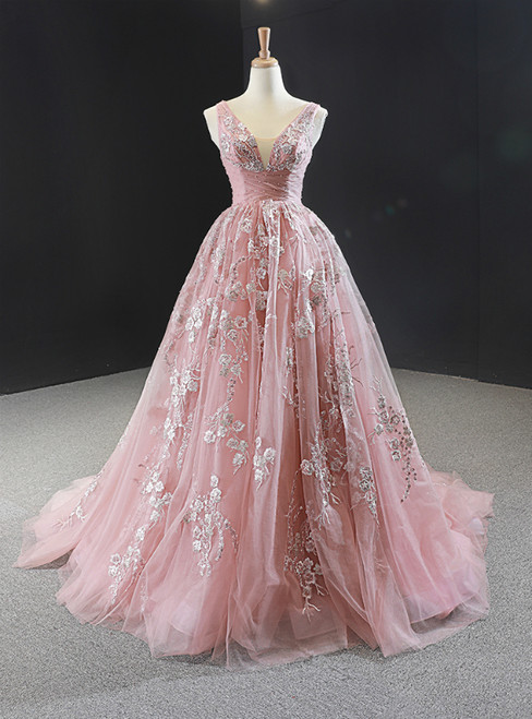 Pink Ball Gown V-neck Tulle Appliques Beading Prom Dress