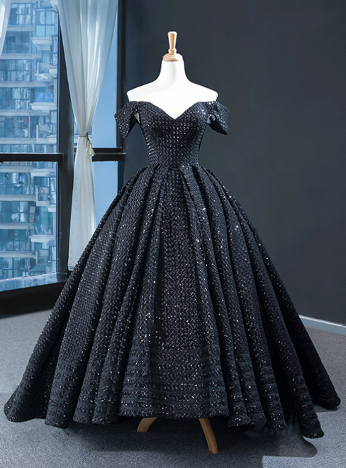 Black Ball Gown Sequins Hi Lo Off the Shoulder Prom Dress