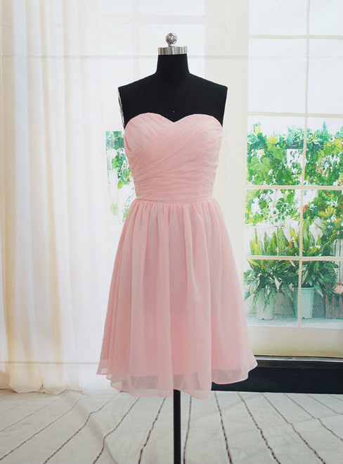 Charming Handmade Short Simple Pink Bridesmaid Dresses  Pink Bridesmaid Dreses