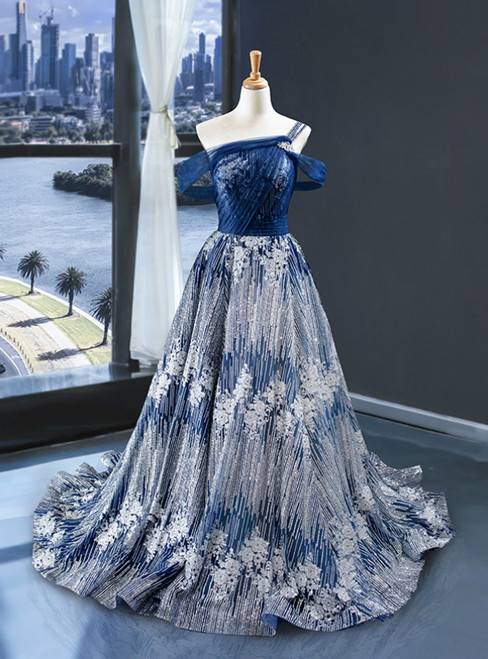 Blue Ball Gown Silver Sequins Off the Shoulder Prom Dress