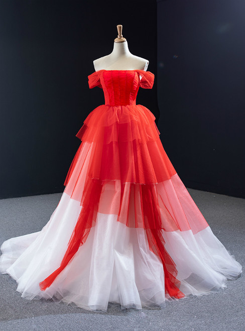 Red And White Tulle Off the Shoulder Pleats Beading Prom Dress