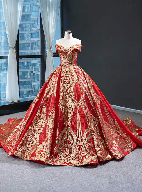 Red Ball Gown Sequins Off the Shoulder Luxury Prom Dress