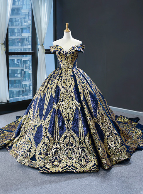 Blue Ball Gown Sequins Off the Shoulder Luxury Prom Dress