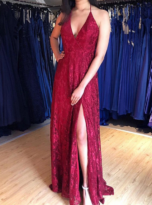 A-Line Burgundy Lace Halter Backless Long Prom Dress With Side Split