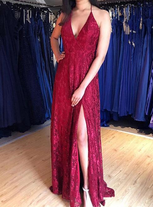 A-Line Burgundy Lace Halter Backless Long Prom Dress With Side Split