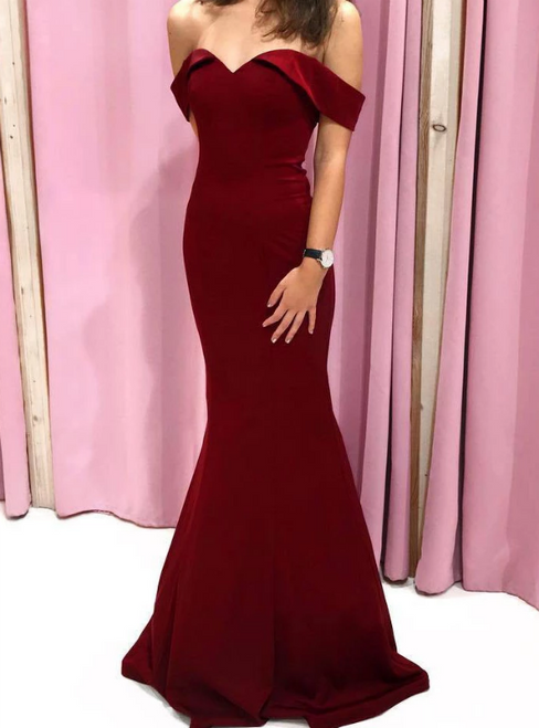 Simple Burgundy Mermaid Satin Off the Shoulder Long Prom Dress
