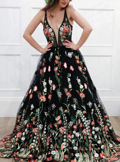 A-Line Black V-neck Embroidery Flower Deep V-neck Backless Prom Dress