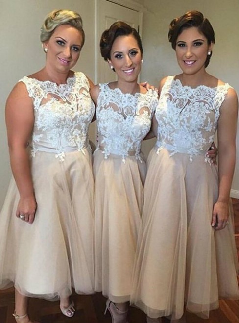 short bridesmaid dress lace bridesmaid dress Champagne bridesmaid dress