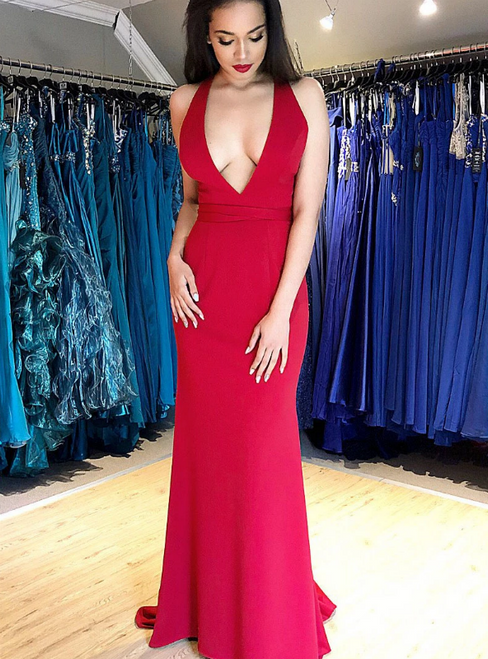 Red Mermaid Satin Deep V-neck Lace Up Back Prom Dress