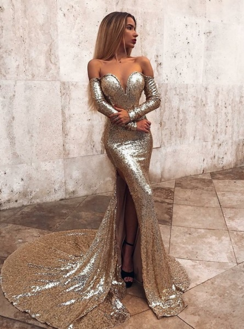 Gold Mermaid Sequins Off the Shoulder Long Sleeve Prom Dress