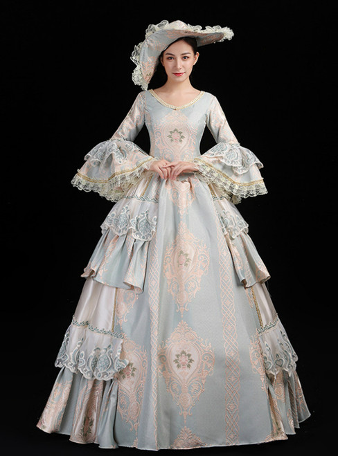 Blue Ball Gown Embroidery Long Sleeve Drama Show Vintage Gown Dress