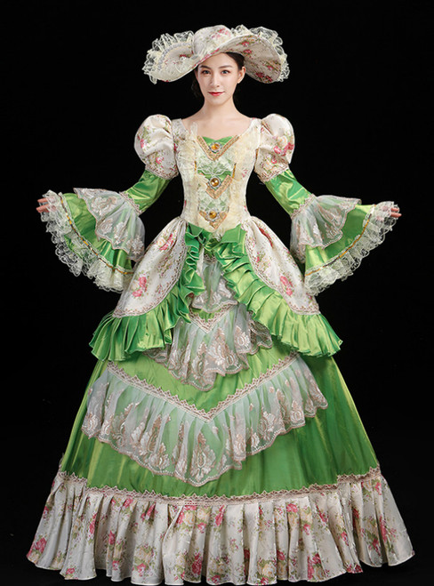 Green Ball Gown Satin Print Drama Show Vintage Gown Dress